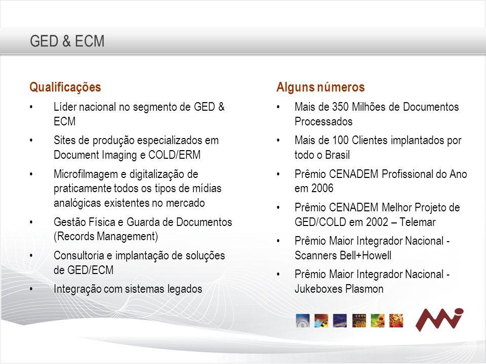 GED & ECM Qualificações Líder nacional no segmento de GED & ECM Sites de produção especializados em Document Imaging e COLD/ERM Microfilmagem e digita