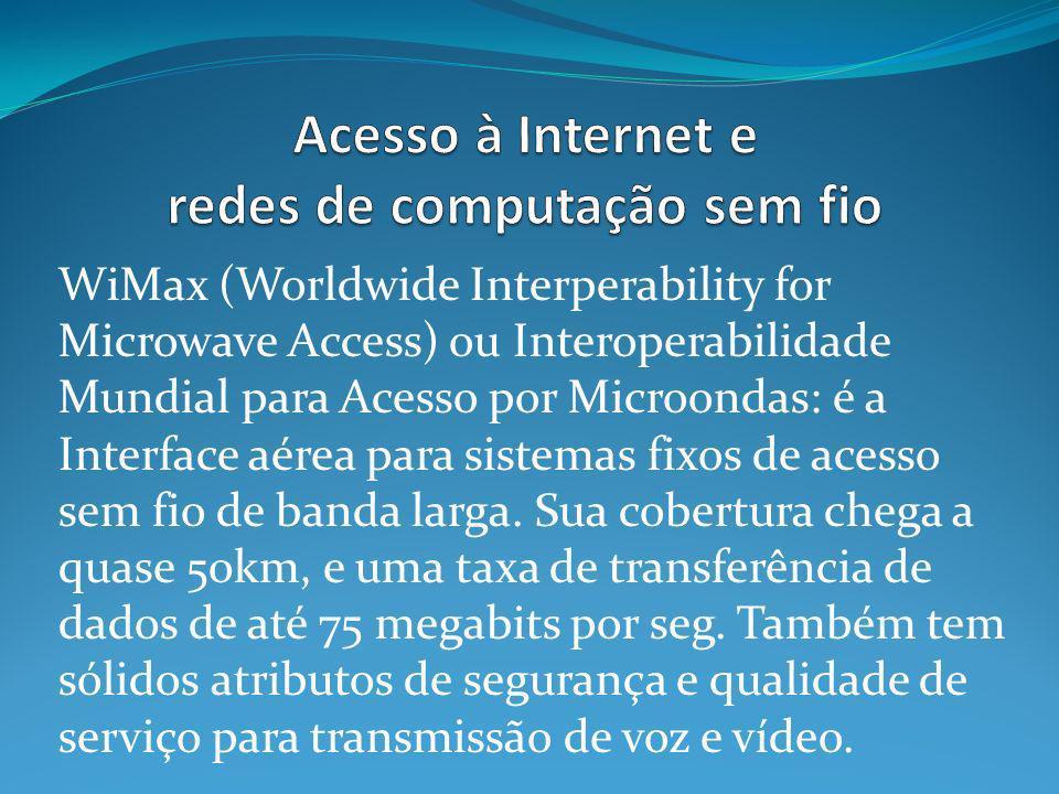 WiMax (Worldwide Interperability for Microwave Access) ou Interoperabilidade Mundial para Acesso por Microondas: é a Interface aérea para sistemas fixos de acesso sem fio de banda larga.