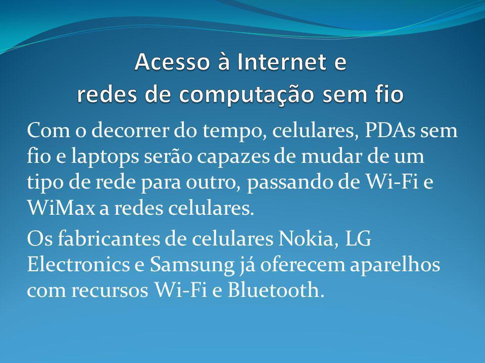 Com o decorrer do tempo, celulares, PDAs sem fio e laptops serão capazes de mudar de um tipo de rede para outro, passando de Wi-Fi e WiMax a redes cel