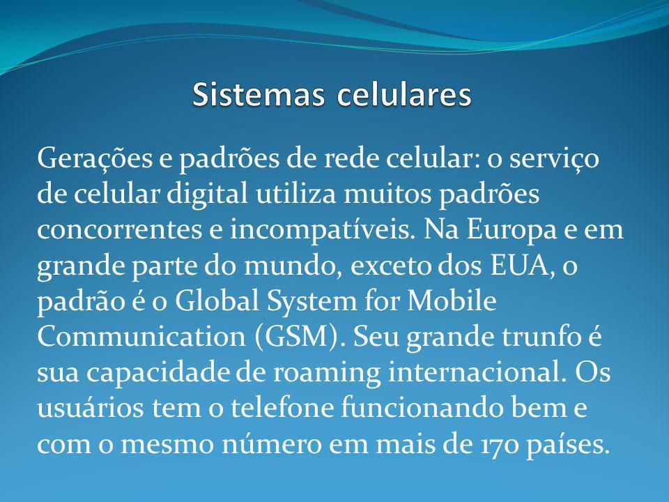 Gerações e padrões de rede celular: o serviço de celular digital utiliza muitos padrões concorrentes e incompatíveis. Na Europa e em grande parte do m