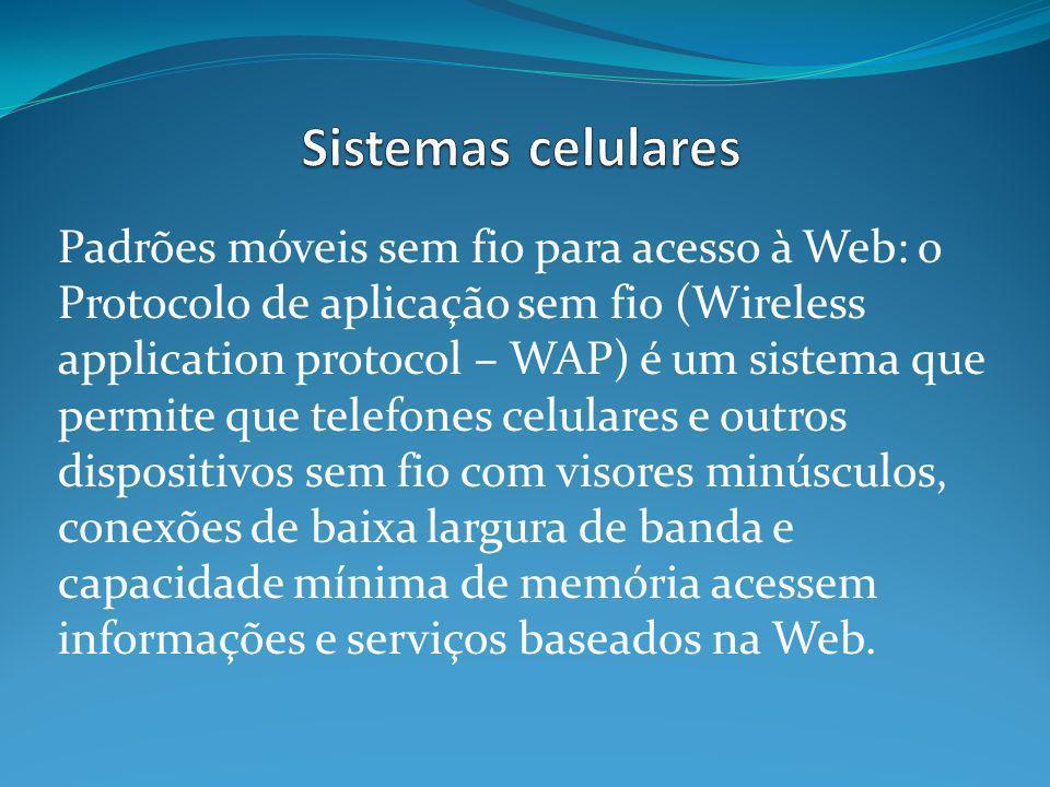 Padrões móveis sem fio para acesso à Web: o Protocolo de aplicação sem fio (Wireless application protocol – WAP) é um sistema que permite que telefone