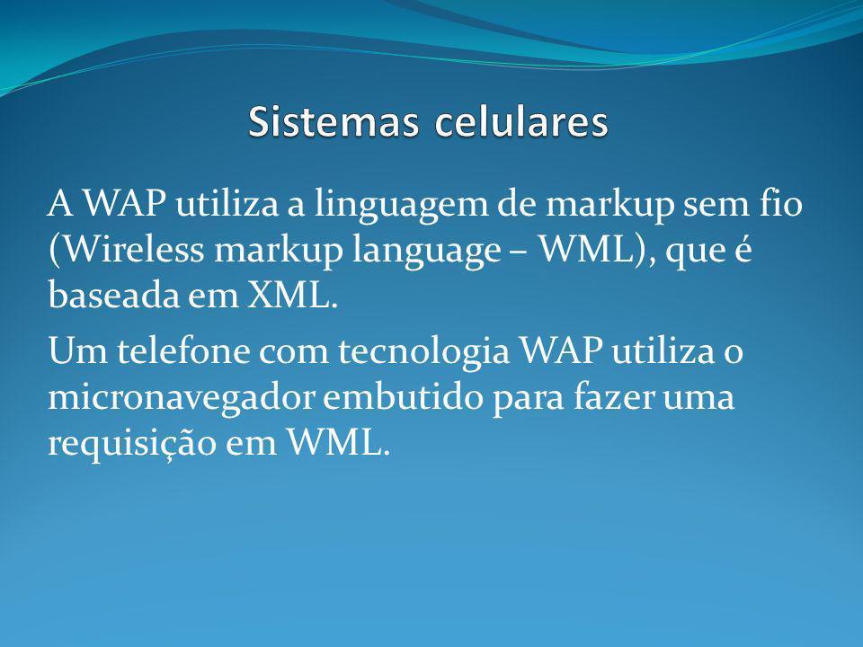 A WAP utiliza a linguagem de markup sem fio (Wireless markup language – WML), que é baseada em XML.