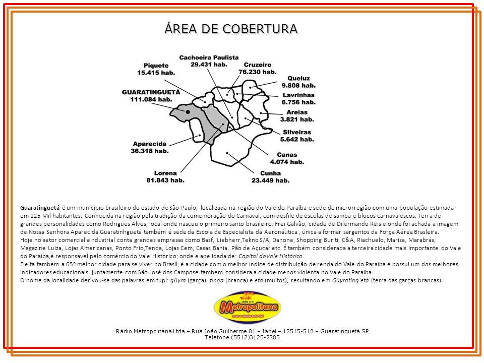 Rádio Metropolitana Ltda – Rua João Guilherme 81 – Iapeí – 12515-510 – Guaratinguetá SP Telefone (5512)3125-2885 ÁREA DE COBERTURA Guaratinguetá é um