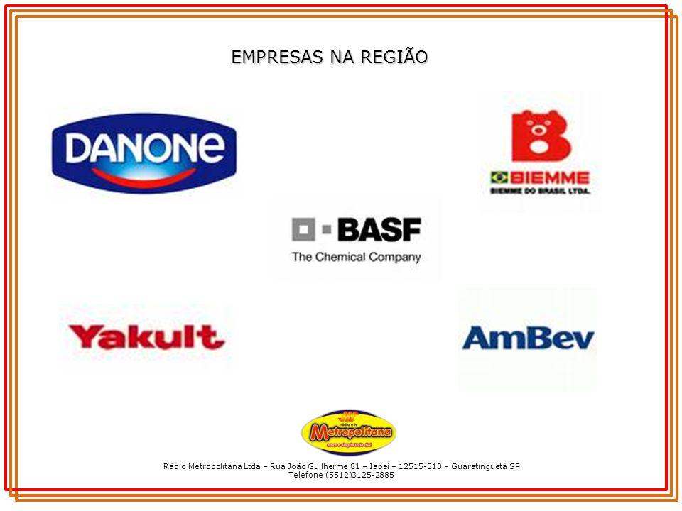 Rádio Metropolitana Ltda – Rua João Guilherme 81 – Iapeí – 12515-510 – Guaratinguetá SP Telefone (5512)3125-2885 EMPRESAS NA REGIÃO