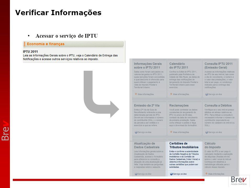 Bre v Verificar Informações Acessar o serviço de IPTU
