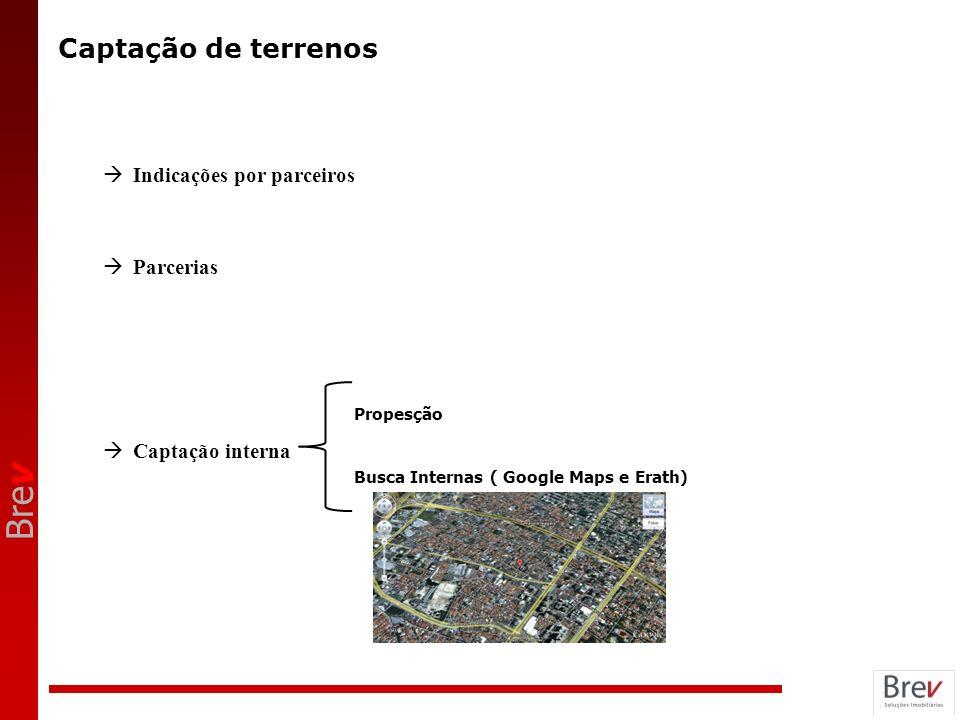 Bre v Captação de terrenos Indicações por parceiros Parcerias Captação interna Propesção Busca Internas ( Google Maps e Erath)