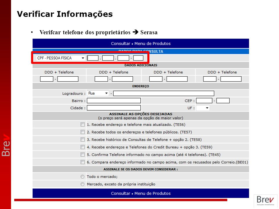 Bre v Verificar Informações Verifcar telefone dos proprietários Serasa