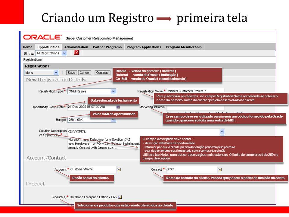 Criando um Registro primeira tela O campo description deve conter : - descrição detalhada da oportunidade - informar por que o cliente precisa da solu