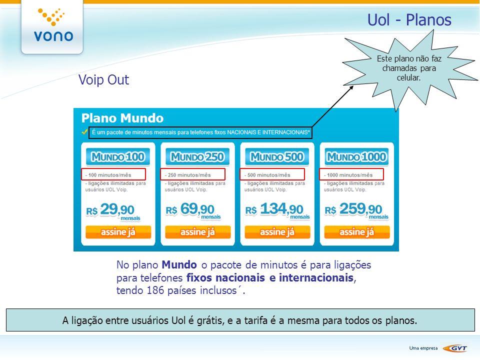 Uol - Planos Voip Out No plano Mundo o pacote de minutos é para ligações para telefones fixos nacionais e internacionais, tendo 186 países inclusos´.