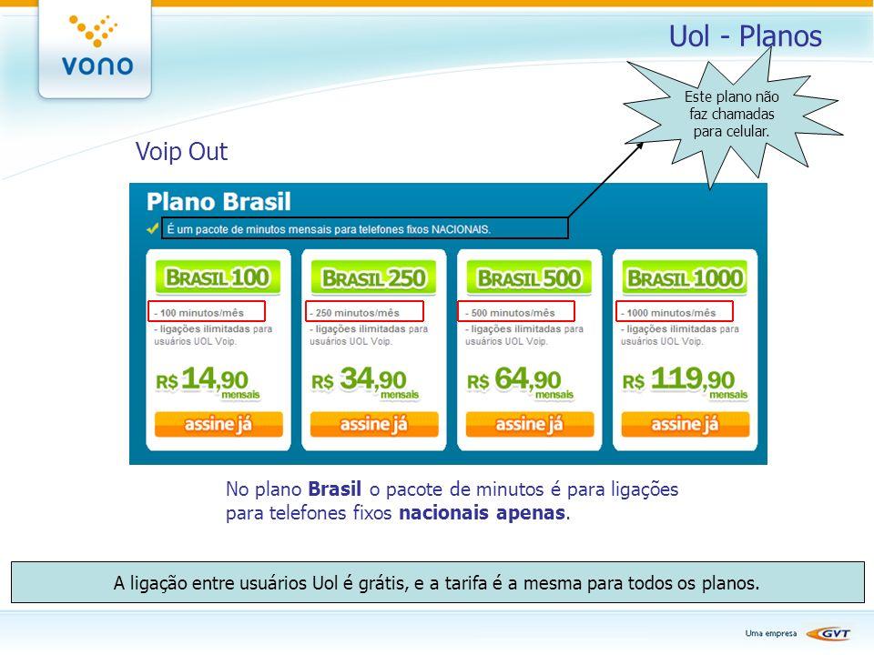 Uol - Planos Voip Out No plano Brasil o pacote de minutos é para ligações para telefones fixos nacionais apenas. A ligação entre usuários Uol é grátis