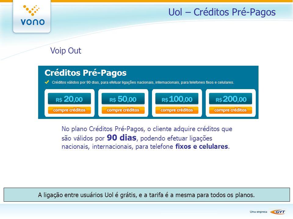 Uol – Créditos Pré-Pagos Voip Out No plano Créditos Pré-Pagos, o cliente adquire créditos que são válidos por 90 dias, podendo efetuar ligações nacion