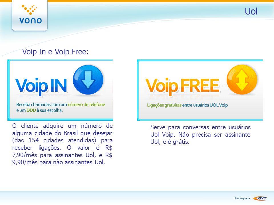 Uol Voip In e Voip Free: O cliente adquire um número de alguma cidade do Brasil que desejar (das 154 cidades atendidas) para receber ligações. O valor