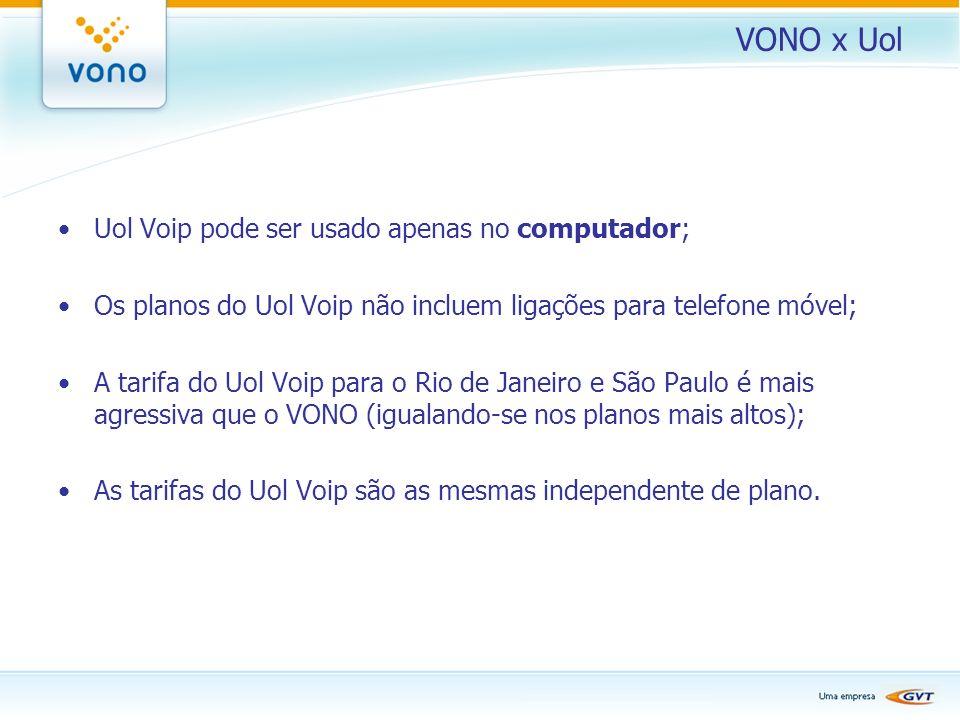 VONO x Uol Uol Voip pode ser usado apenas no computador; Os planos do Uol Voip não incluem ligações para telefone móvel; A tarifa do Uol Voip para o R