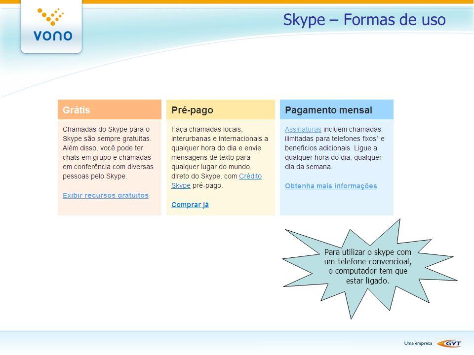 Skype – Formas de uso Para utilizar o skype com um telefone convencioal, o computador tem que estar ligado.