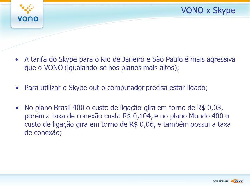 VONO x Skype A tarifa do Skype para o Rio de Janeiro e São Paulo é mais agressiva que o VONO (igualando-se nos planos mais altos); Para utilizar o Sky