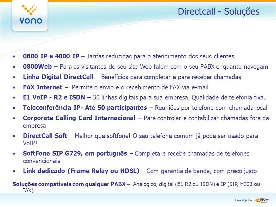 Directcall - Soluções 0800 IP e 4000 IP – Tarifas reduzidas para o atendimento dos seus clientes 0800Web – Para os visitantes do seu site Web falem co