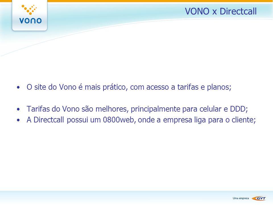 VONO x Directcall O site do Vono é mais prático, com acesso a tarifas e planos; Tarifas do Vono são melhores, principalmente para celular e DDD; A Dir