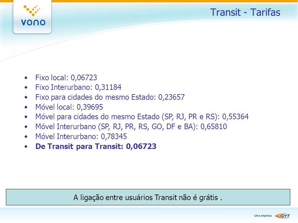 Transit - Tarifas Fixo local: 0,06723 Fixo Interurbano: 0,31184 Fixo para cidades do mesmo Estado: 0,23657 Móvel local: 0,39695 Móvel para cidades do