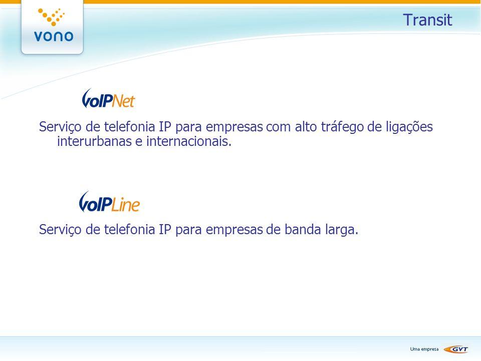 Transit Serviço de telefonia IP para empresas com alto tráfego de ligações interurbanas e internacionais. Serviço de telefonia IP para empresas de ban