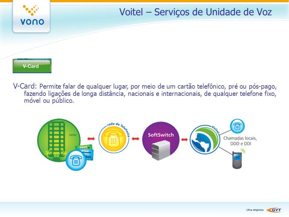 Voitel – Serviços de Unidade de Voz V-Card: Permite falar de qualquer lugar, por meio de um cartão telefônico, pré ou pós-pago, fazendo ligações de lo