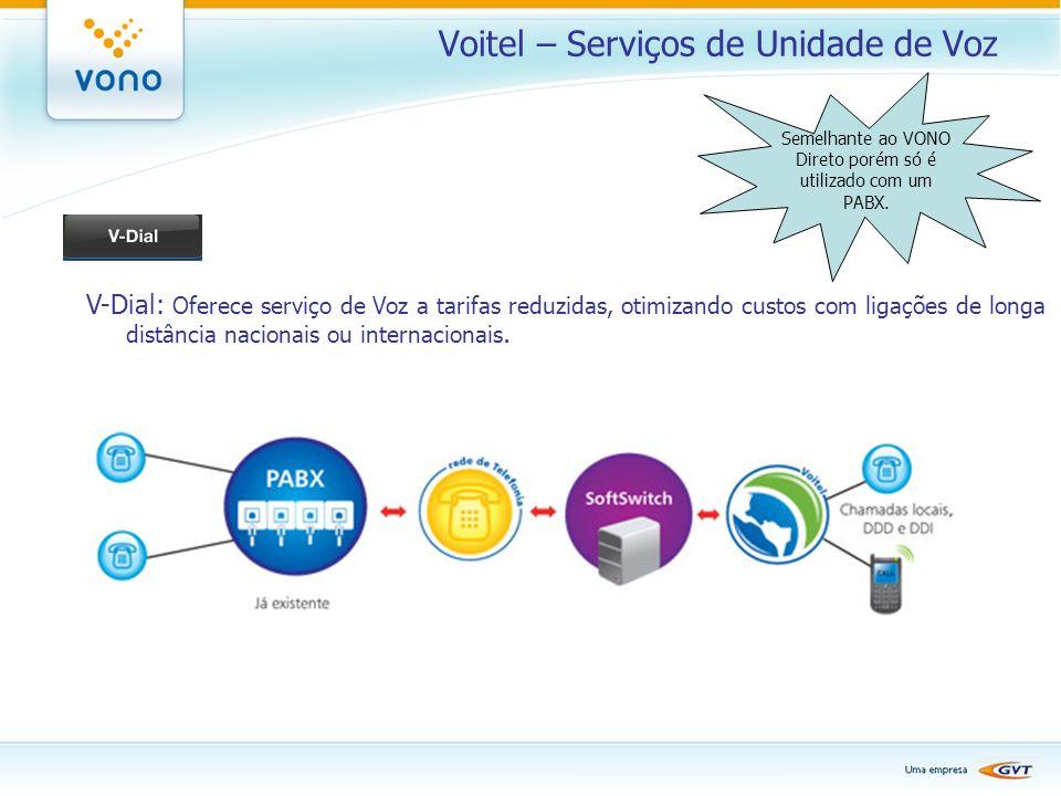 Voitel – Serviços de Unidade de Voz V-Dial: Oferece serviço de Voz a tarifas reduzidas, otimizando custos com ligações de longa distância nacionais ou