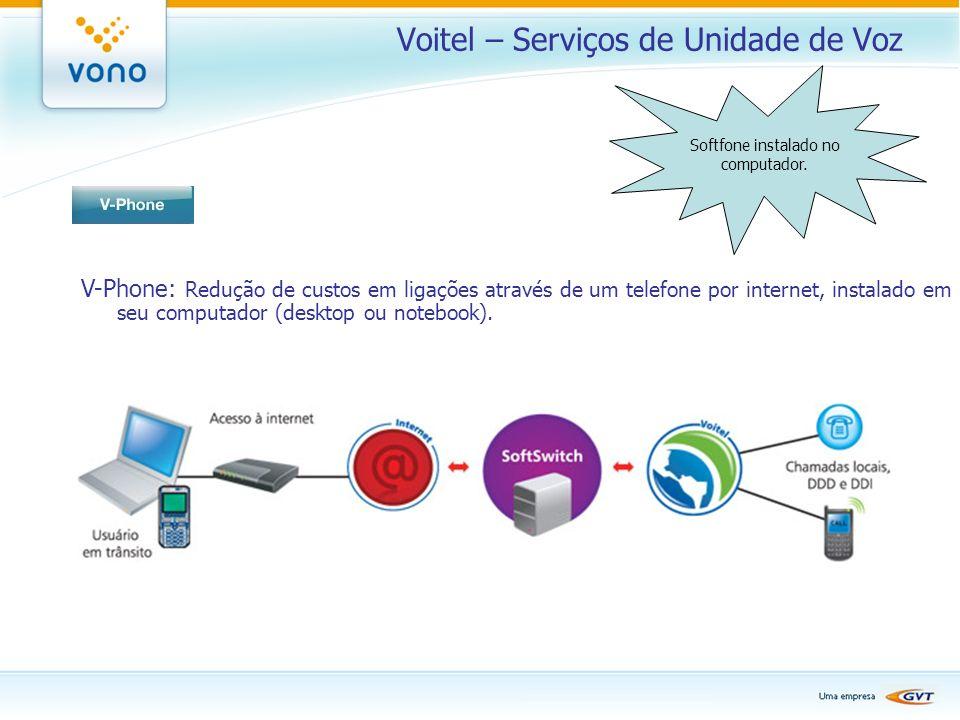 Voitel – Serviços de Unidade de Voz V-Phone: Redução de custos em ligações através de um telefone por internet, instalado em seu computador (desktop o