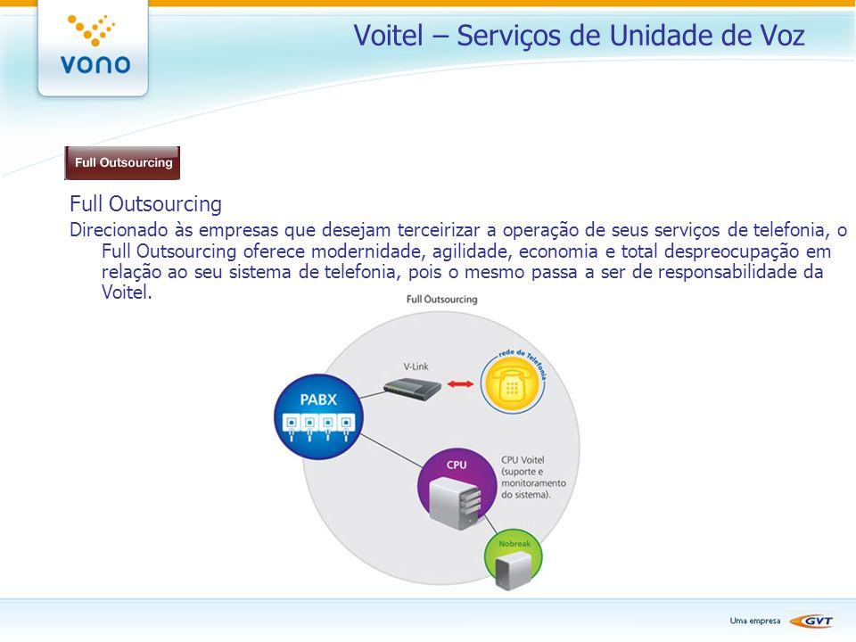 Voitel – Serviços de Unidade de Voz Full Outsourcing Direcionado às empresas que desejam terceirizar a operação de seus serviços de telefonia, o Full