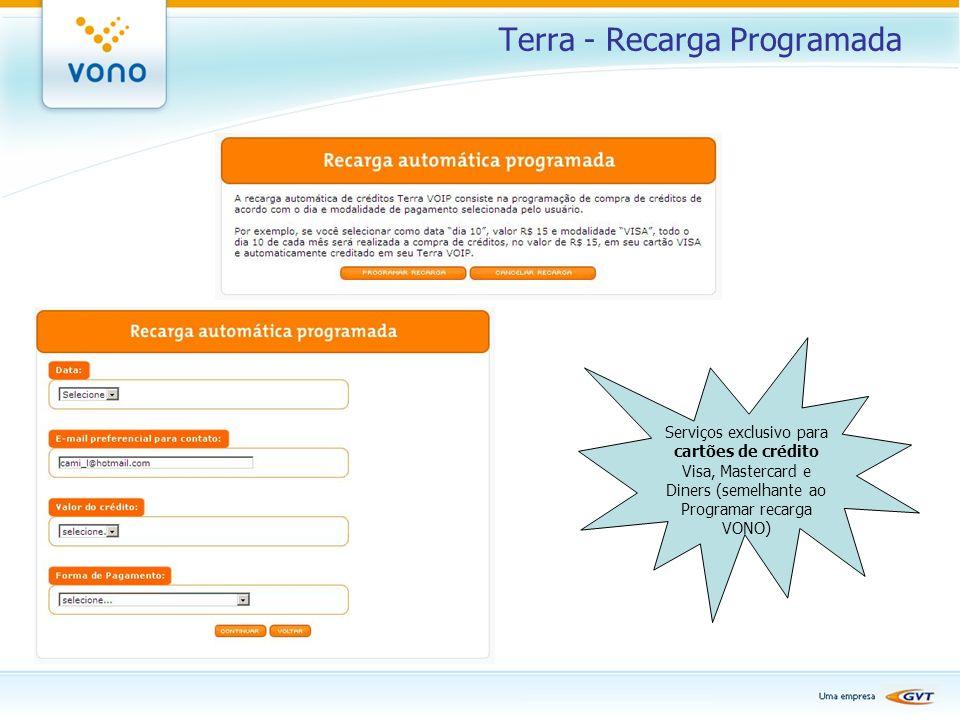 Terra - Recarga Programada Serviços exclusivo para cartões de crédito Visa, Mastercard e Diners (semelhante ao Programar recarga VONO)