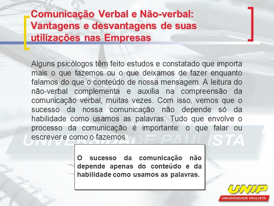 Comunicação Verbal e Não-verbal: Vantagens e desvantagens de suas utilizações nas Empresas O ser humano faz uso de muitos signos universais da comunicação.