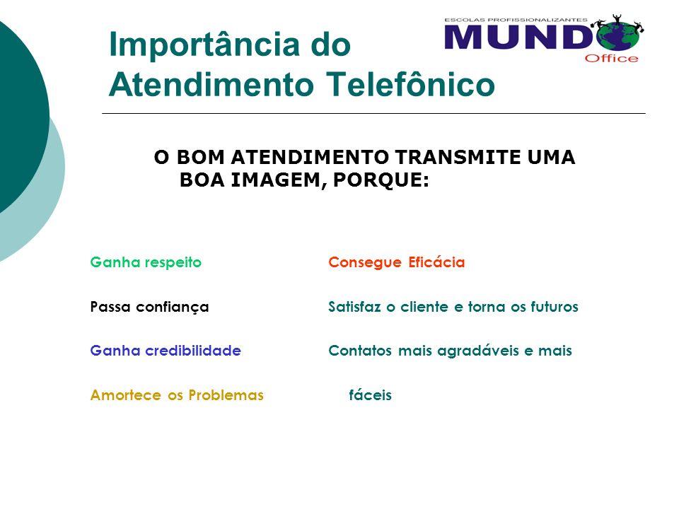 Importância do Atendimento Telefônico O BOM ATENDIMENTO TRANSMITE UMA BOA IMAGEM, PORQUE: Ganha respeitoConsegue Eficácia Passa confiançaSatisfaz o cl