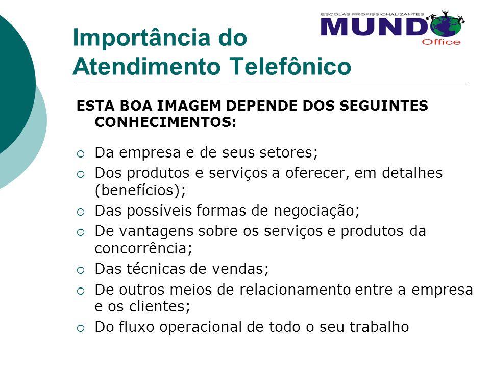 Importância do Atendimento Telefônico ESTA BOA IMAGEM DEPENDE DOS SEGUINTES CONHECIMENTOS: Da empresa e de seus setores; Dos produtos e serviços a ofe
