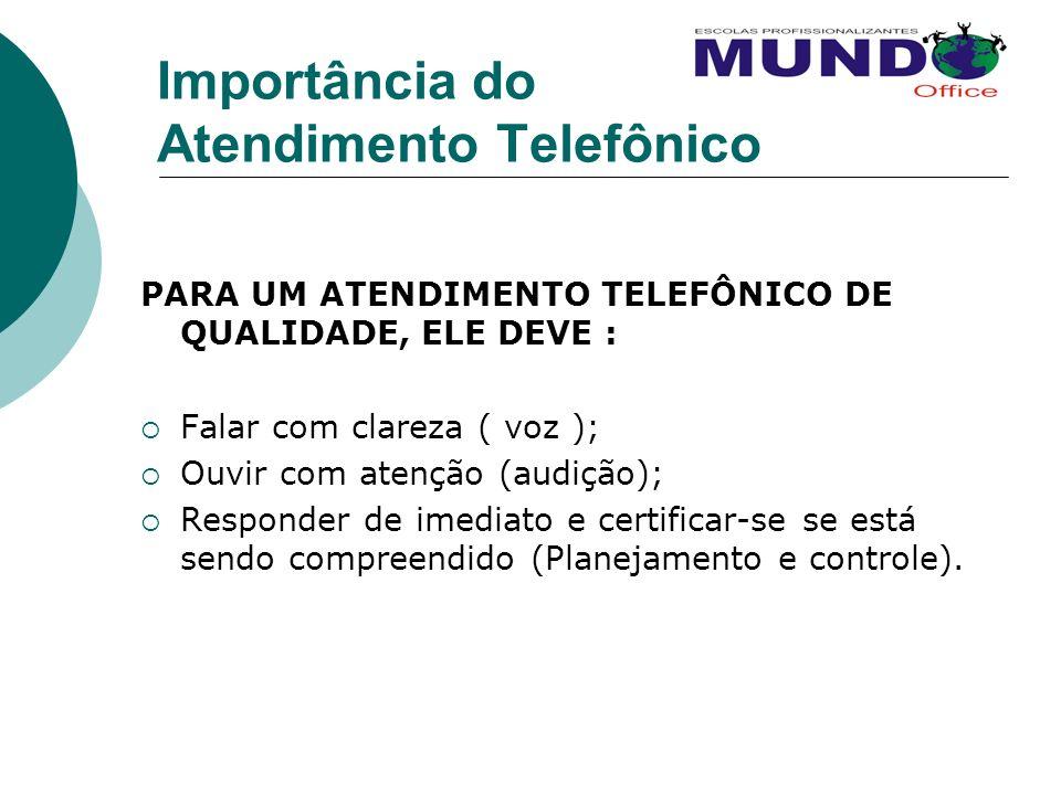 Importância do Atendimento Telefônico PARA UM ATENDIMENTO TELEFÔNICO DE QUALIDADE, ELE DEVE : Falar com clareza ( voz ); Ouvir com atenção (audição);