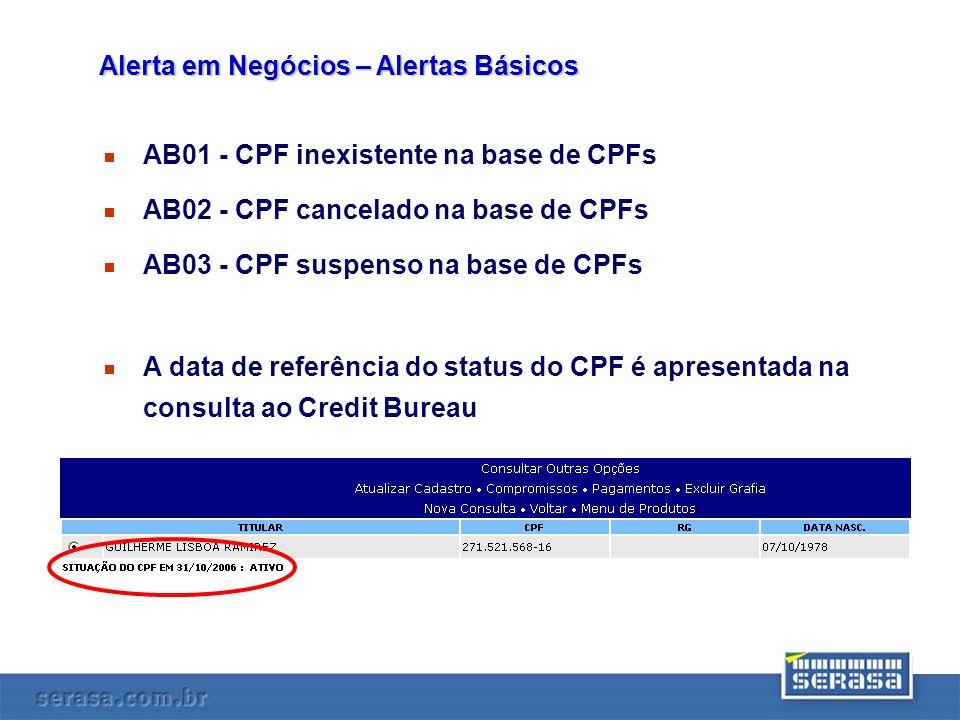 AB01 - CPF inexistente na base de CPFs AB02 - CPF cancelado na base de CPFs AB03 - CPF suspenso na base de CPFs A data de referência do status do CPF