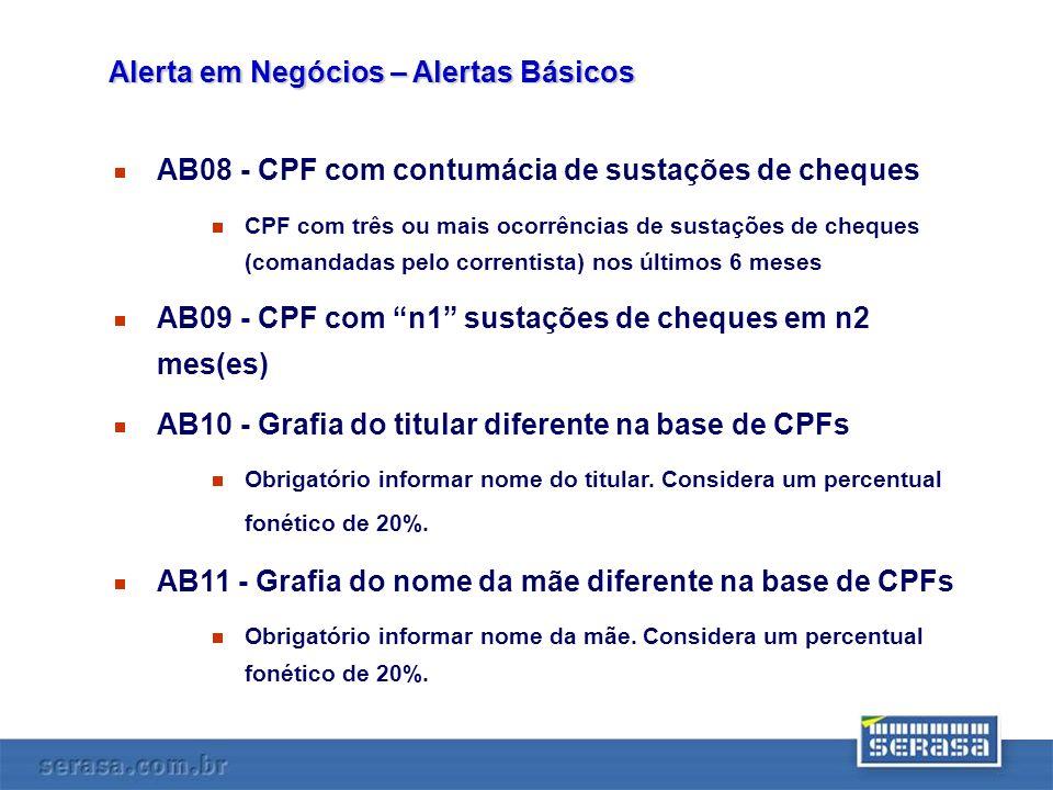 AB08 - CPF com contumácia de sustações de cheques CPF com três ou mais ocorrências de sustações de cheques (comandadas pelo correntista) nos últimos 6