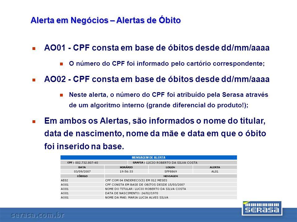 AO01 - CPF consta em base de óbitos desde dd/mm/aaaa O número do CPF foi informado pelo cartório correspondente; AO02 - CPF consta em base de óbitos d