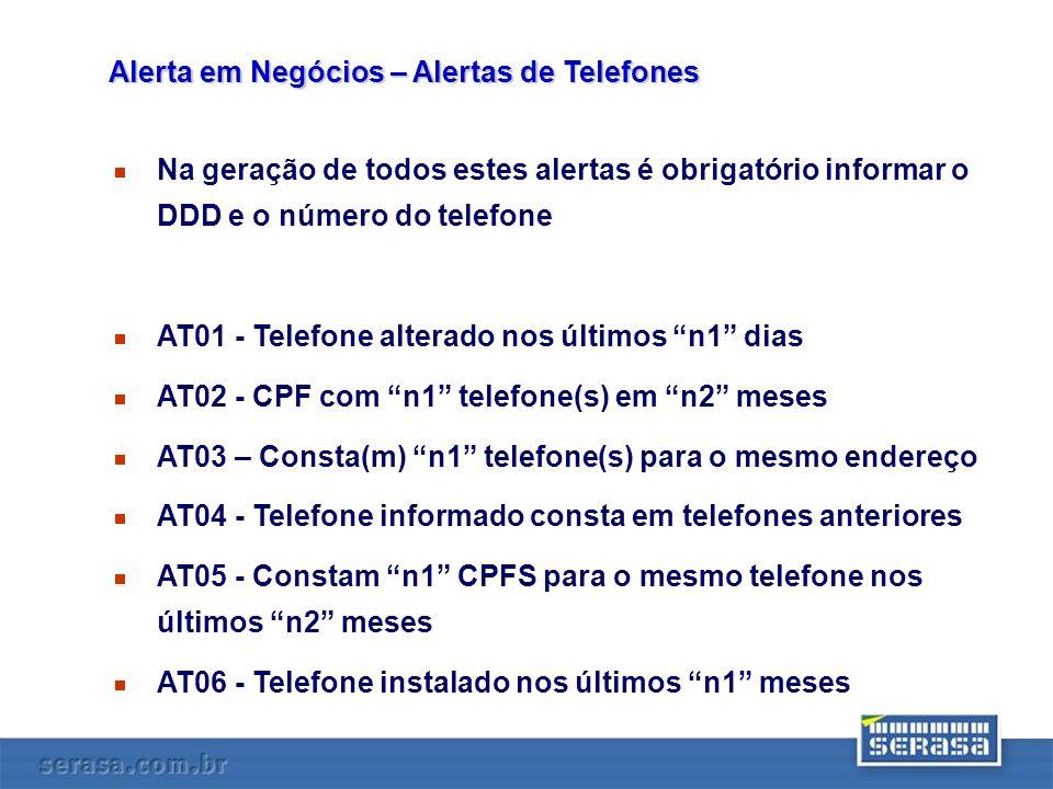 Na geração de todos estes alertas é obrigatório informar o DDD e o número do telefone AT01 - Telefone alterado nos últimos n1 dias AT02 - CPF com n1 t