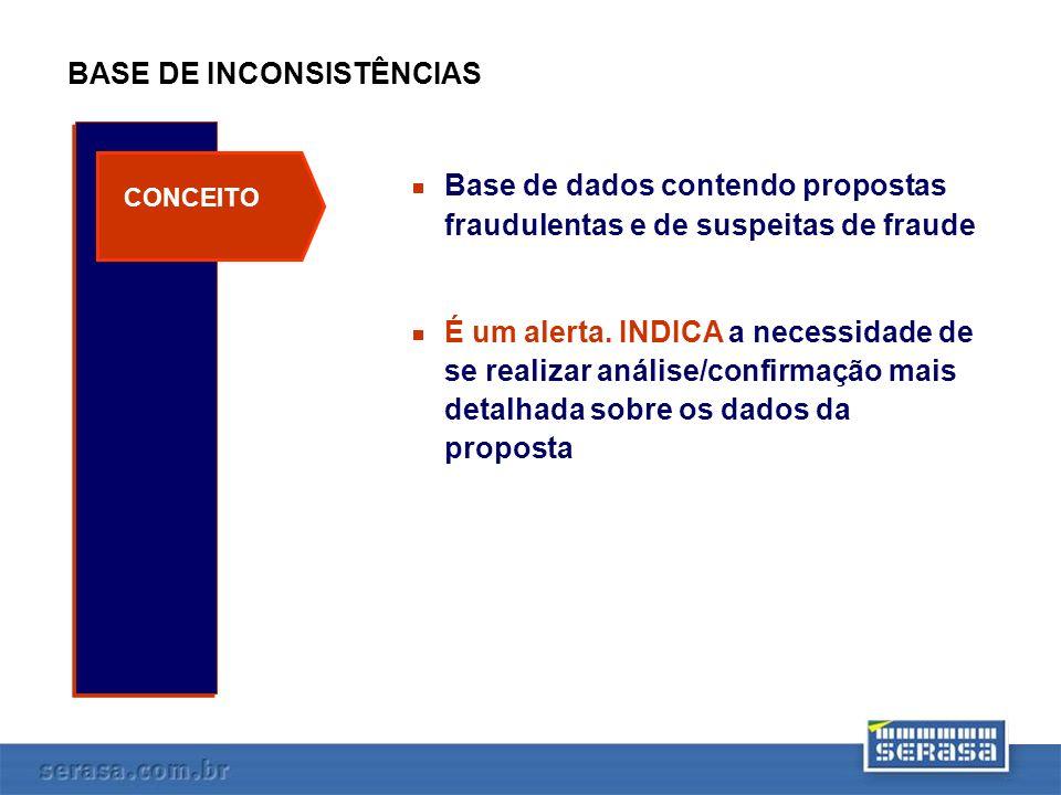 INCLUSÃO / CONSULTA À BASE DE INCONSISTÊNCIAS INCLUSÃO Base de Inconsist.