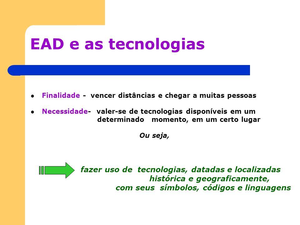 EAD e as tecnologias Finalidade - vencer distâncias e chegar a muitas pessoas Necessidade- valer-se de tecnologias disponíveis em um determinado momen