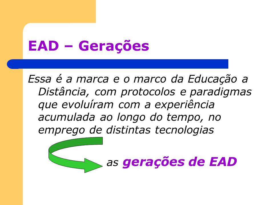 EAD – Gerações Essa é a marca e o marco da Educação a Distância, com protocolos e paradigmas que evoluíram com a experiência acumulada ao longo do tem