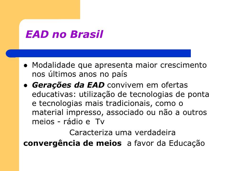 EAD no Brasil Modalidade que apresenta maior crescimento nos últimos anos no país Gerações da EAD convivem em ofertas educativas: utilização de tecnol