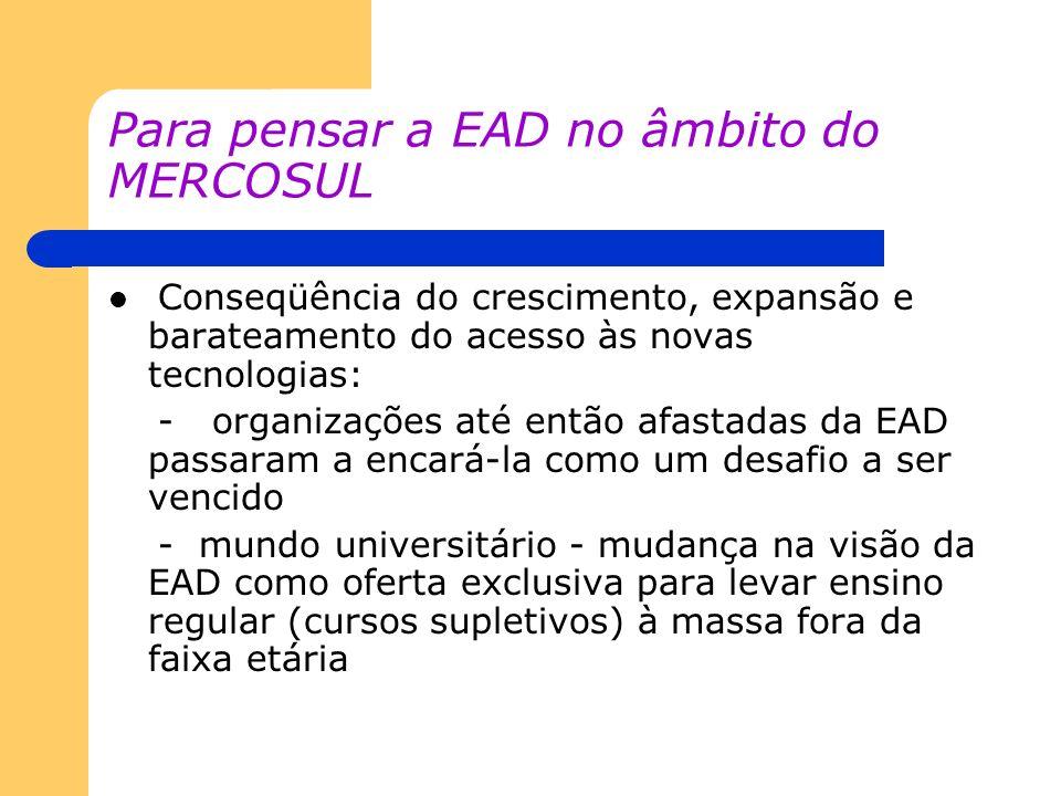 Para pensar a EAD no âmbito do MERCOSUL Conseqüência do crescimento, expansão e barateamento do acesso às novas tecnologias: - organizações até então