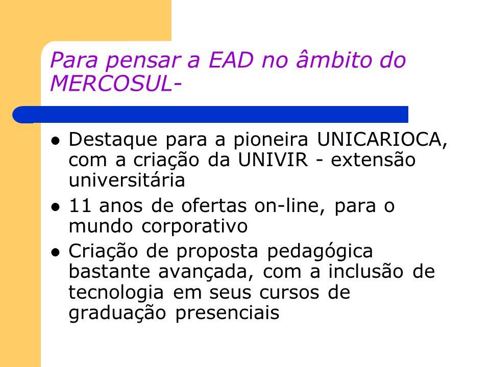 Para pensar a EAD no âmbito do MERCOSUL- Destaque para a pioneira UNICARIOCA, com a criação da UNIVIR - extensão universitária 11 anos de ofertas on-l