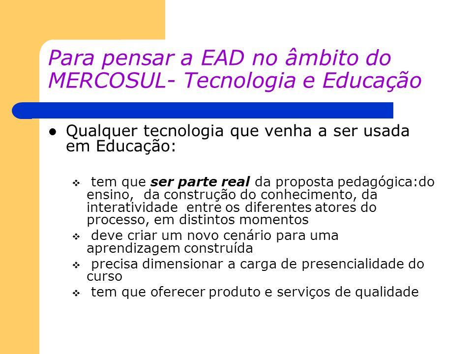 Para pensar a EAD no âmbito do MERCOSUL- Tecnologia e Educação Qualquer tecnologia que venha a ser usada em Educação: tem que ser parte real da propos