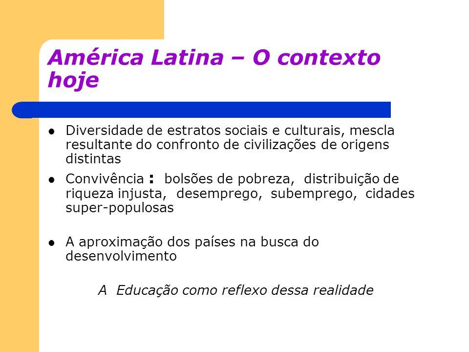 América Latina – O contexto hoje Diversidade de estratos sociais e culturais, mescla resultante do confronto de civilizações de origens distintas Conv