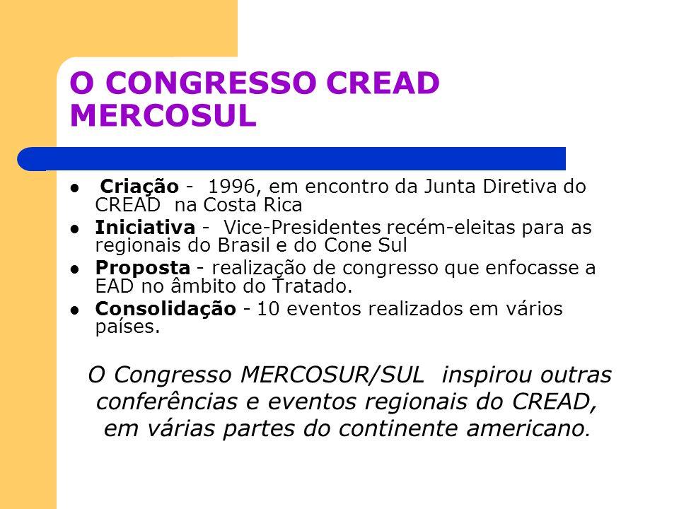 O CONGRESSO CREAD MERCOSUL Criação - 1996, em encontro da Junta Diretiva do CREAD na Costa Rica Iniciativa - Vice-Presidentes recém-eleitas para as re