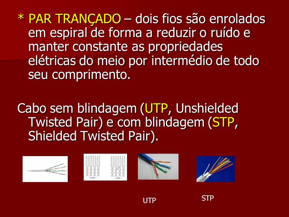 * PAR TRANÇADO – dois fios são enrolados em espiral de forma a reduzir o ruído e manter constante as propriedades elétricas do meio por intermédio de