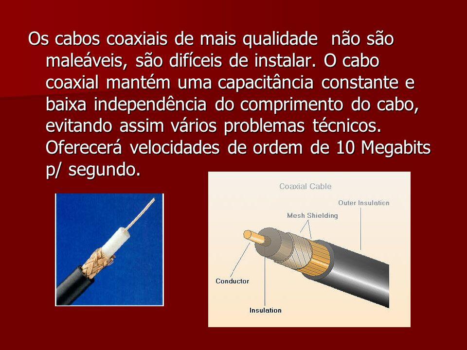 Os cabos coaxiais de mais qualidade não são maleáveis, são difíceis de instalar. O cabo coaxial mantém uma capacitância constante e baixa independênci