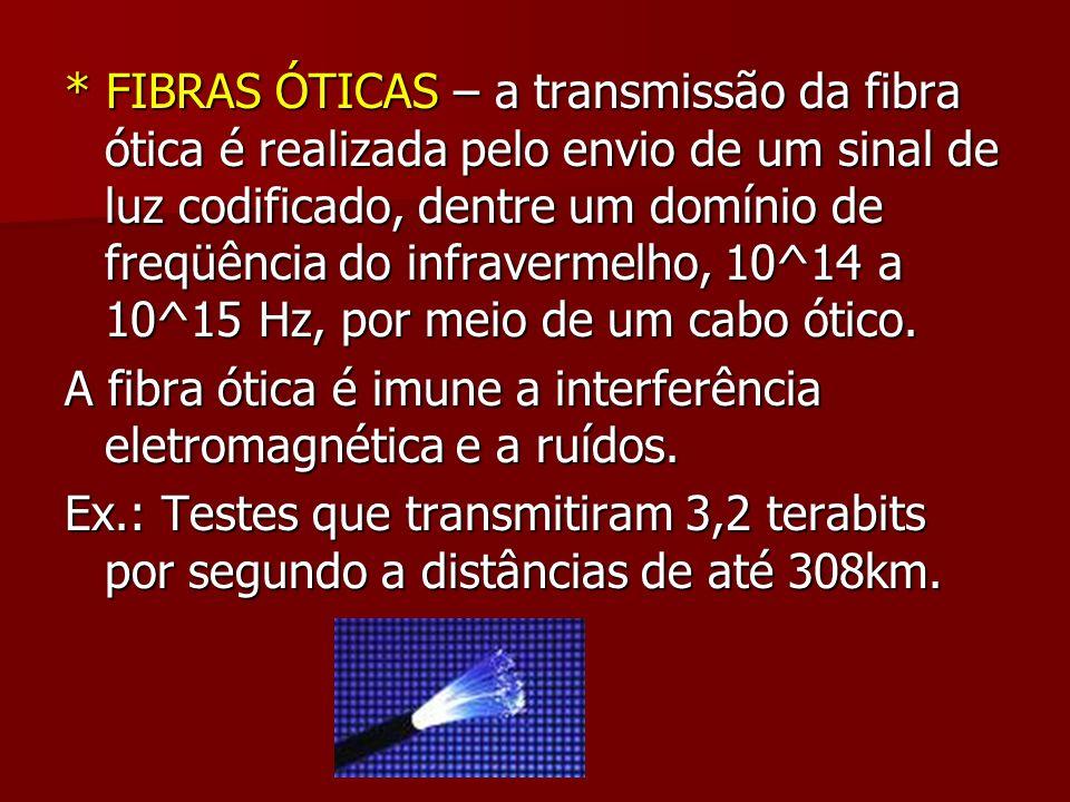 * FIBRAS ÓTICAS – a transmissão da fibra ótica é realizada pelo envio de um sinal de luz codificado, dentre um domínio de freqüência do infravermelho,