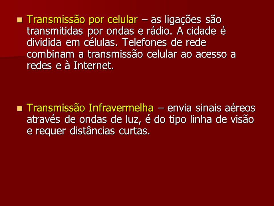 Transmissão por celular – as ligações são transmitidas por ondas e rádio. A cidade é dividida em células. Telefones de rede combinam a transmissão cel