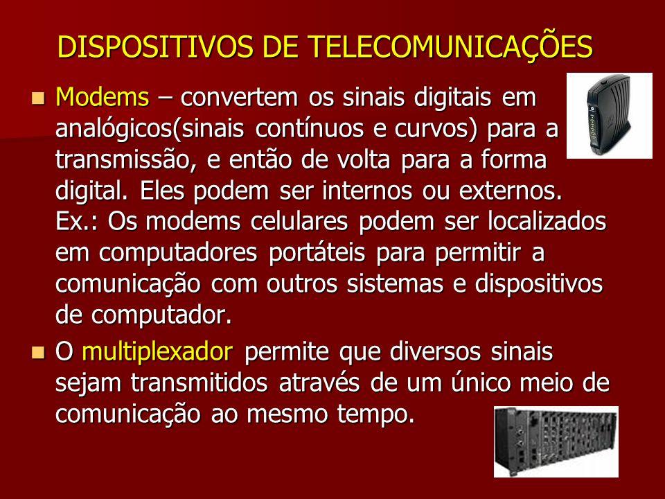 DISPOSITIVOS DE TELECOMUNICAÇÕES Modems – convertem os sinais digitais em analógicos(sinais contínuos e curvos) para a transmissão, e então de volta p
